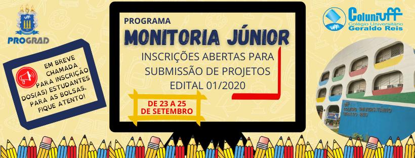 Chamada Edital de Programa Monitoria Junior - Coluni-UFF
